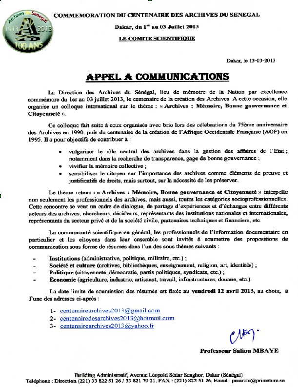 Appel a communication Senegal