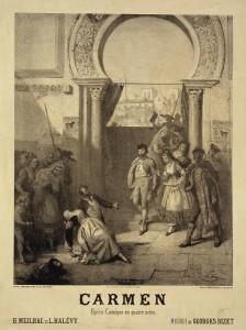 Affiche pour la première de Carmen à l'Opéra-Comique en 1875