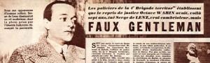 Extrait de l'hebdomadaire Détective, n°299, 24 mars 1952. Article publié à l'occasion de l'arrestation du meurtrier de Serge de Lenz