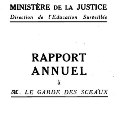 Rapports annuels de l'éducation surveillée