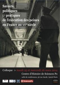 Affiche du colloque Savoirs, politiques et pratiques de l'exécution des peines...