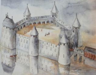 Fig. 1. Château de Selles à Cambrai. Restitution de l'état du milieu XIIIe siècle. Dessin et aquarelle, Louis-Vanbauce, M et Louis, E. (MOTTE, V., 2010, p. 76).