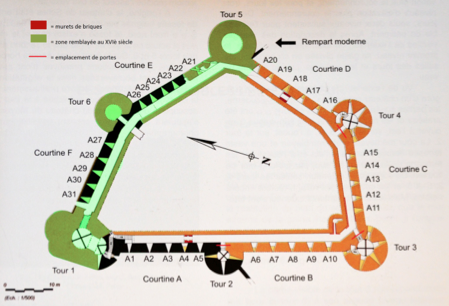 Fig. 2. Château de Selles. Plan. Niveau 1 (MOTTE, V., 2010, p. 37, modifié par LANI, M.).