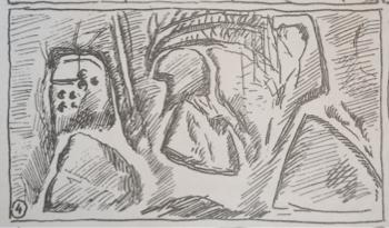 Fig. 6. Château de Selles. Niveau 2. Tour 4. Relevé d'un graffito ((DELATTRE, G. et DELATTRE, E., 1892, p. 51).