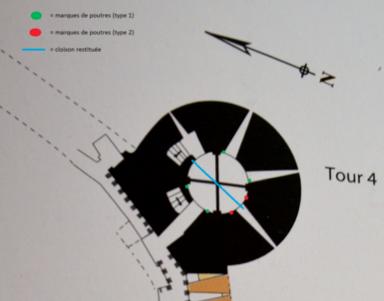 Fig. 18. Château de Selles. Plan de la tour 4. Localisation des traces de structures (MOTTE, V., 2010, p. 62, modifié par LANI, M.).