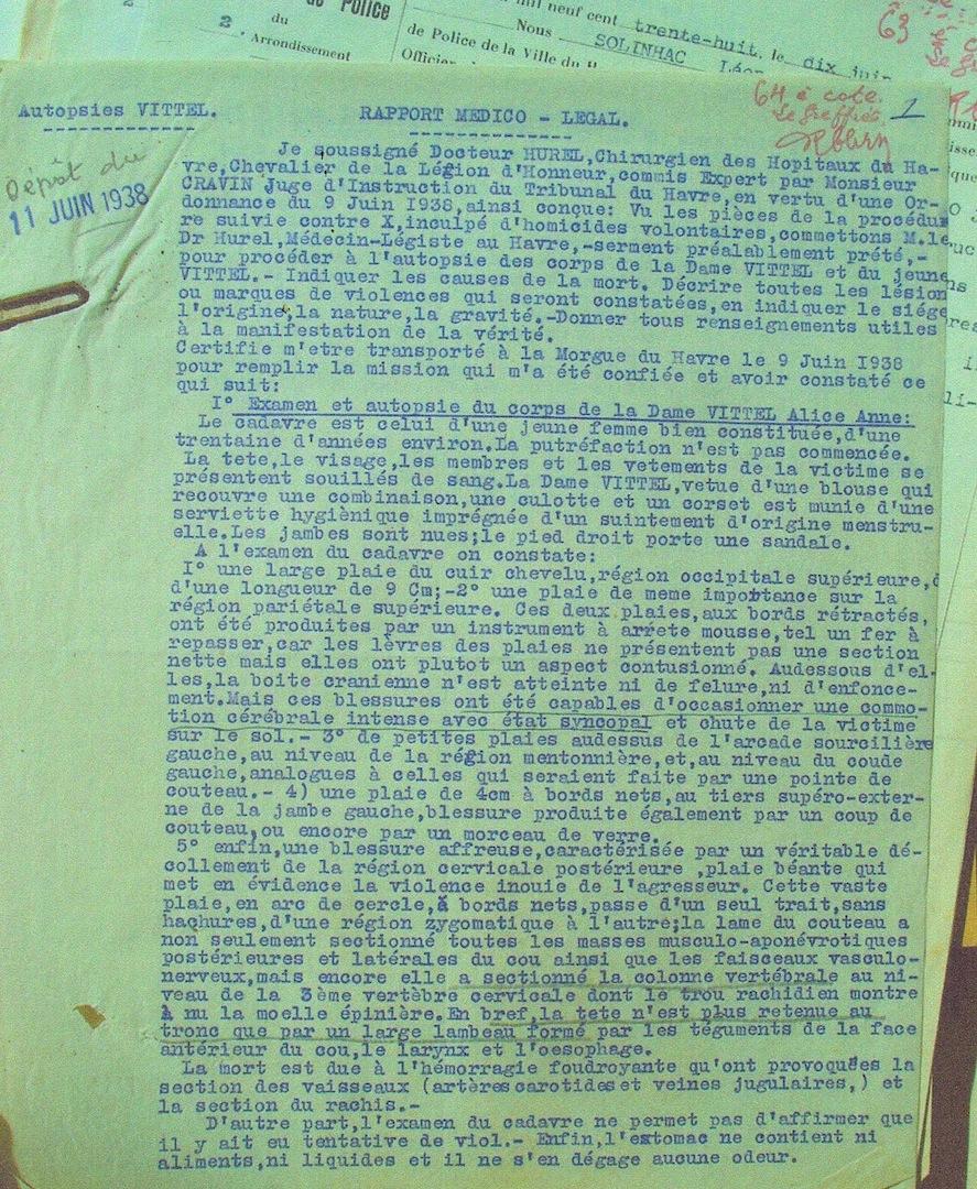 Autopsie du corps de madame Pierre Vitel. Archives départementales de Seine-Maritime