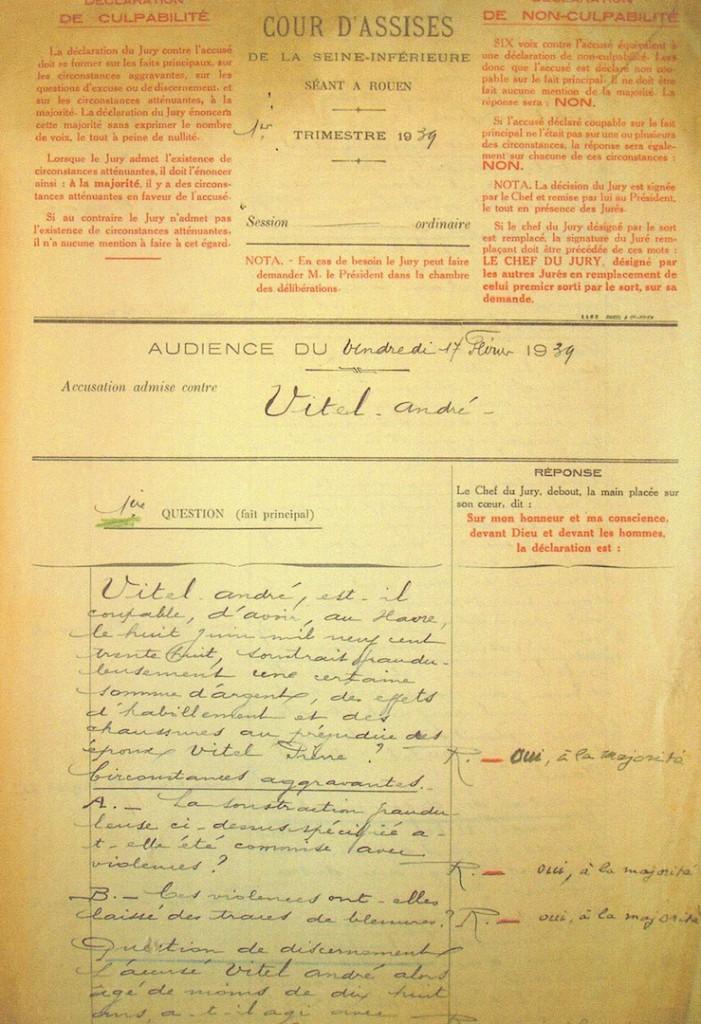 Questions posées aux jurés de la cour d'assises et réponses des jurés. Archives départementales de Seine-Maritime
