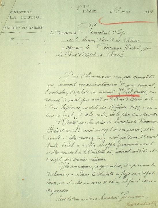 Exécution d'André Vitel. procès verbal du surveillant chef de la maison d'arrêt et de correction de Rouen. Archives départementales de la Seine-Maritime