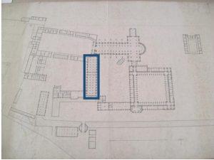 Plan de l'abbaye en 1808 : bâtiment des convers, Archives Départementales de l'Aube (ADA), 3H338.