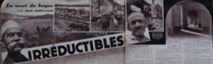 Extrait du journal Voilà du 13 janvier 1937 sur la mort du bagne. On peut y voir les vestiges de l'ancien pénitencier dépôt de l'île Nou. Coll. Louis-José Barbançon.