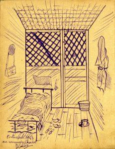 Dessin illustrant une cage à poule de Fontevraud, extrait d'un carnet de croquis réalisé par un ancien résistant, © Archives départementales du Finistère, collection famille Cadiou.