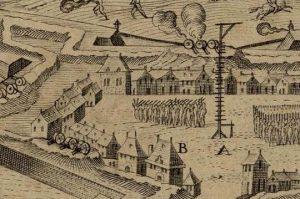 Figure 2 Cl. Chastillon, Ville et citadelle de Bourg-en-Bresse (détail), gravure, 1641