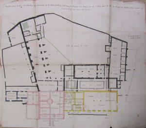 Figure 3 Plan du rez-de-chaussée des prisons du Présidial et de l'Élection de la ville de Bourg-en-Bresse levé en 1762, AdA, C12 © Patrimoine Recherche Avenir