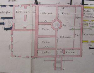 Figure 4 Plan du rez-de-chaussée des prisons du Présidial et de l'Election de la ville de Bourg-en-Bresse levé en 1762 (détail), AdA, C12 © Patrimoine Recherche Avenir