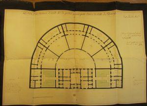Figure 7 Elisabeth-Théodore de Fréminville, Plan d'une maison d'arrêt et de police municipale dans la ville de Bourg, 16 août 1811, AnF, F/13/1529/A © Patrimoine Recherche Avenir.