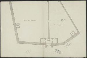 Fig. 10 Plan de la cour de la prison en 1837-1838, Archives Départementales de la Mayenne, 4N54.