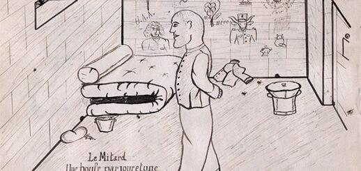 « Le Mitard. Une boule par jour et une gamelle tout les quatre jours ». Élie Ollier, Carnet de dessins, 1940, p. 14, Collection Philippe Zoummeroff