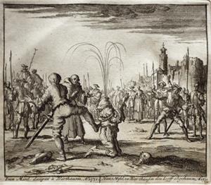 Iean Misel décapité à Warthausen. Anno 1571. Jan Luyken, Théâtre des martyrs […], p. 88