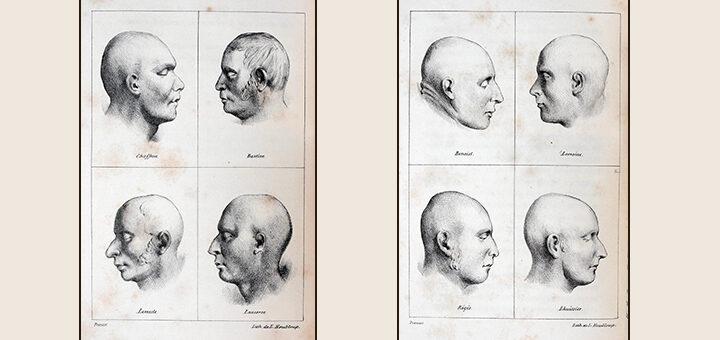 Visages mortuaires, lithographies de Louis Nicolas Houbloup, deux planches extraites de Bagnes, prisons et criminels de Benjamin Appert, 1836, Collection Philippe Zoummeroff/Criminocorpus