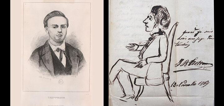à gauche, reproduction d'une gravure de Marc-Antoine-Claude Monnin ; à droite, autoportrait original dessiné à la plume de Jean-Baptiste Troppmann, Collection Philippe Zoummeroff/Criminocorpus