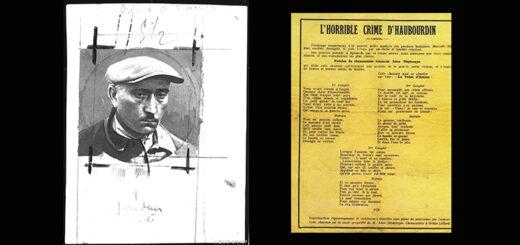 """à gauche, Charles Masselis, l'« ogre d'Haubourdin », assassin de Marcelle Billaut, exécuté le 20 mars 1930 à Douai, fonds Petit Parisien Criminocorpus/ENAP-CRHCP, à droite """"L'horrible crime d'Haubourdin"""", complainte de Léon Déplanque, 1929"""