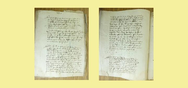 Les confessions d'un sorcier-empoisonneur devant le châtelain de Mozac (Basse-Auvergne), p. 1 et 2, 1461, Archives départementales du Puy-de-Dôme, édition par Johan Picot et Criminocorpus