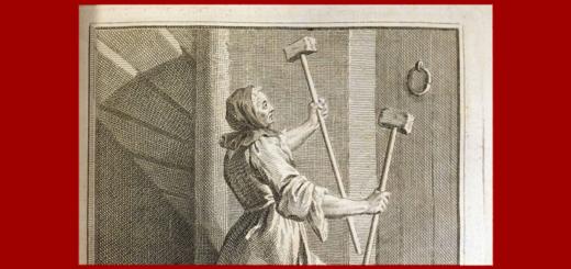 Marie Anne Couronneau. Ayant été subitement et parfaitement guérie le dit jour 13 juin 1731 sur le tombeau de Mr de Pâris, monte son escalier avec une vitesse surprenante portant ses deux béquilles en l'air, gravure tirée de Louis-Basile Carré de Montgeron, La Vérité des miracles opérés à l'intercession de M. de Pâris et autres appellans, démontrée contre M. l'Archevêque de Sens
